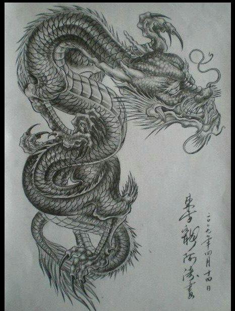 手臂手绘的石狮子纹身图案图片
