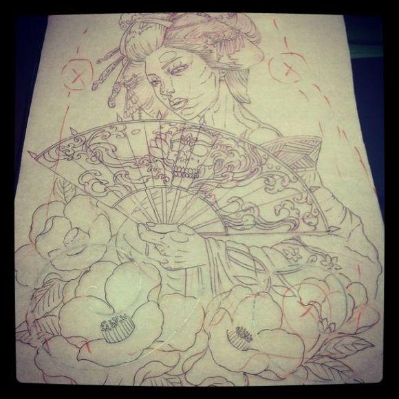 包手臂 ,艺妓手稿.图片