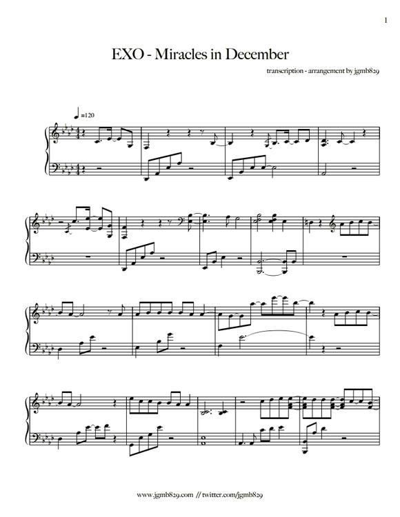 exo歌曲数字钢琴谱分享展示图片