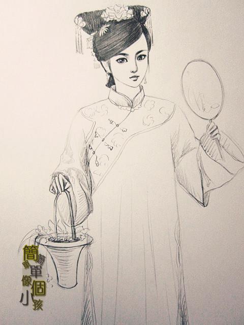 【纯手绘】古装女子,铅笔绘制_古装手绘美女图片吧