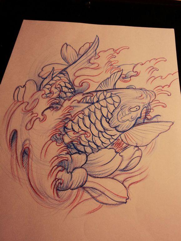 回复:鲤鱼系列手稿_喜欢纹身吧_百度贴吧图片