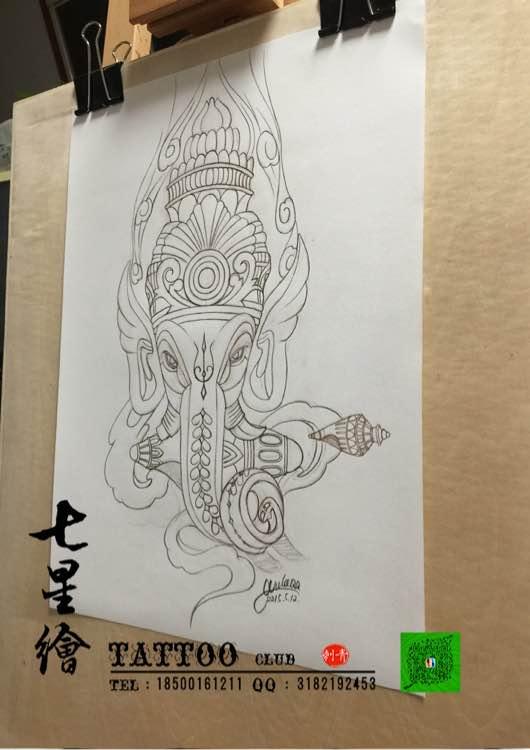 七星绘刺青##西安纹身##纹身手稿##象神手稿##纹身#象神图片