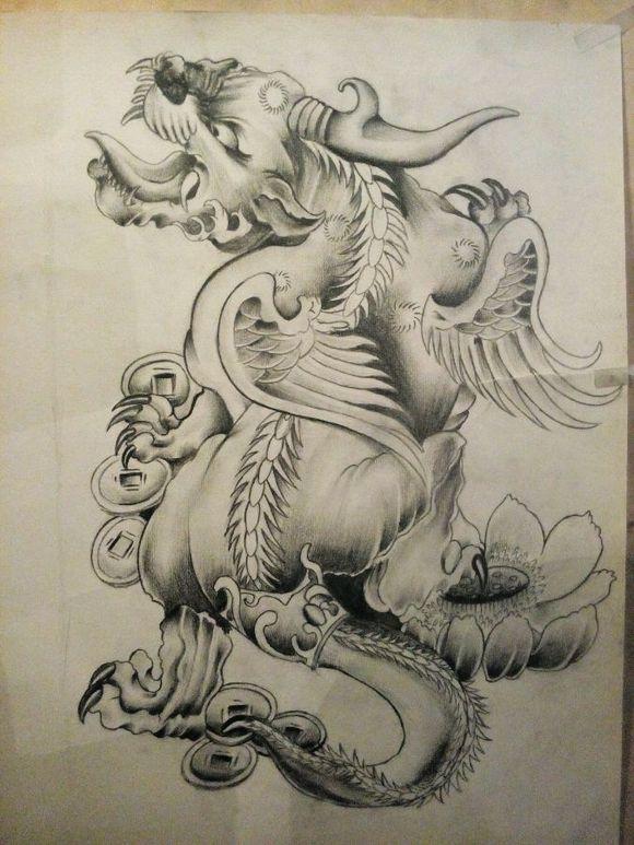 貔貅纹身手稿图片展示图片