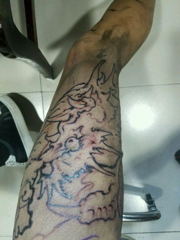 大花腿龙纹身手稿大全展示图片