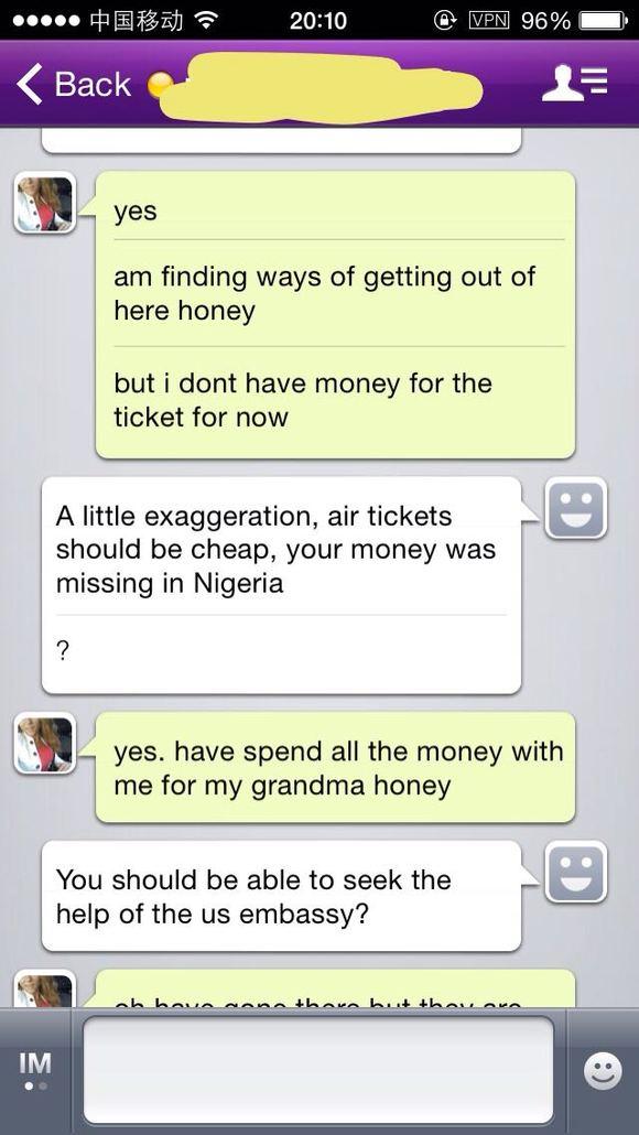 网上一美国白皮妞让我从西联汇机票钱到尼日利亚,她说她