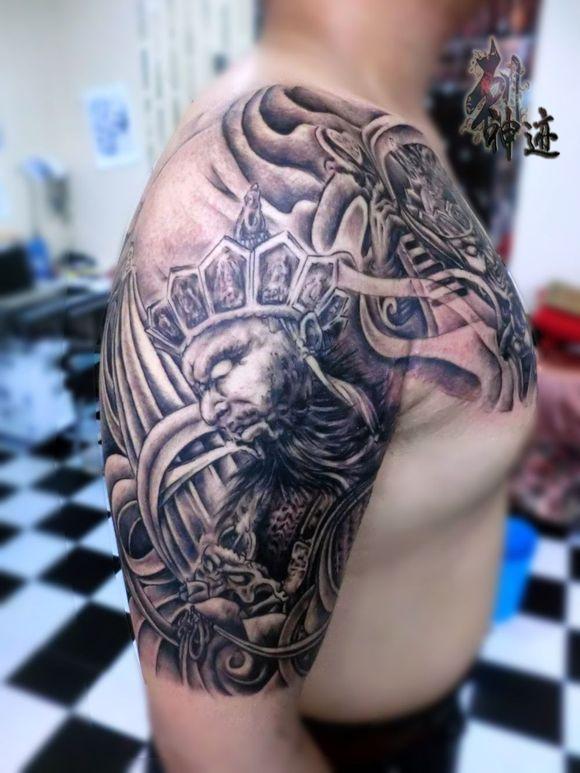 四大天王纹身花腿手稿分享展示图片