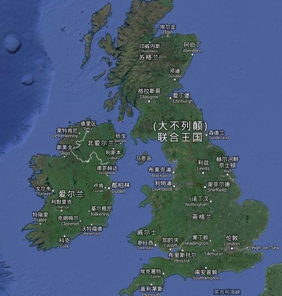 谷歌地图上的英国轮廓