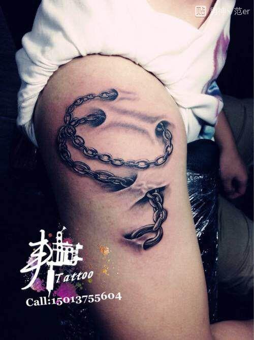胳膊锁链纹身分享展示图片