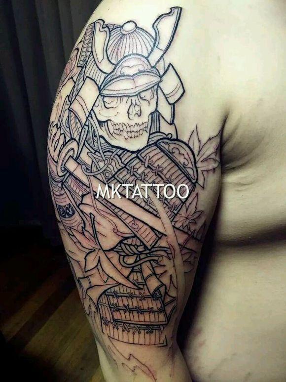 鬼武士纹身图片
