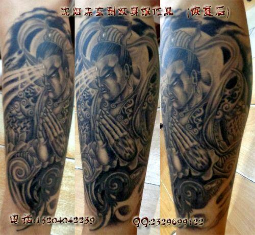 满背二郎神纹身图案 满背如来纹身 满背赵云纹身手稿图片