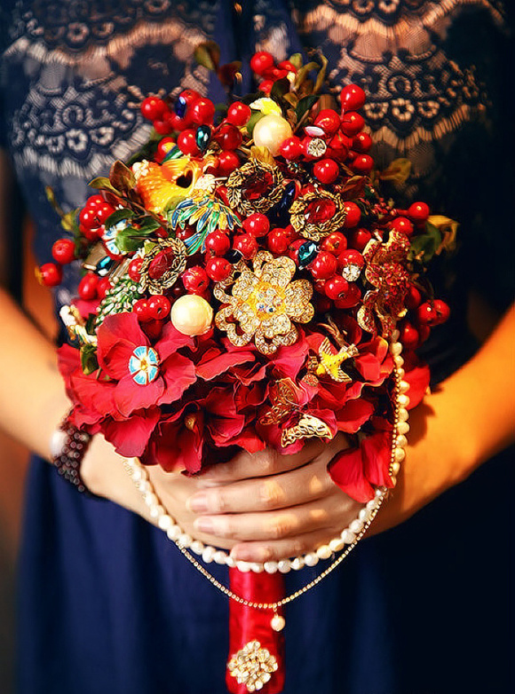 中式婚礼怎能没有一个中国风diy手捧花?图片