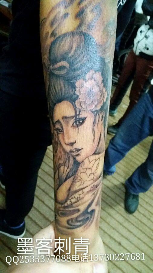 小臂外侧艺妓纹身图片图片