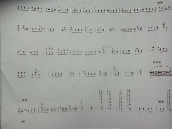 求古筝曲4级的 浏阳河谱子图片