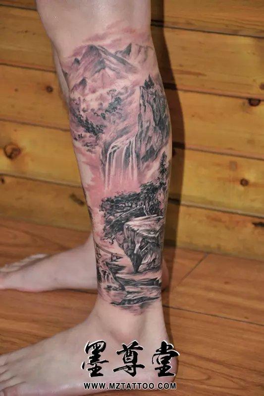 半臂山水纹身图案大全展示图片