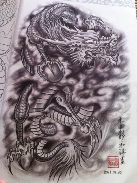 龙纹身图案大全的意义图片