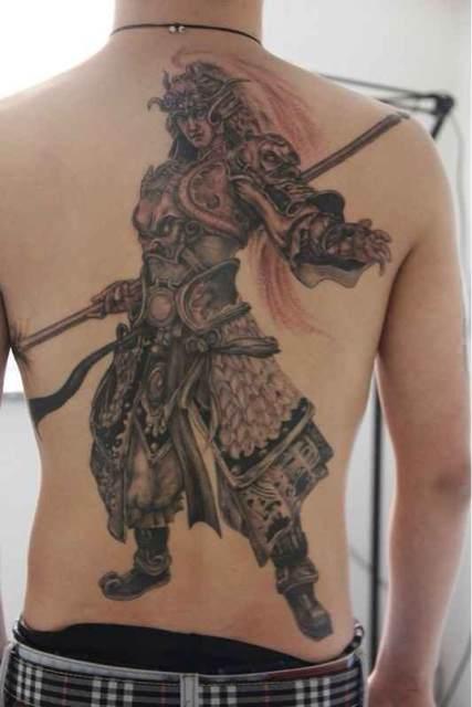 后背纹身关公降龙_关公降龙纹身原稿分享展示