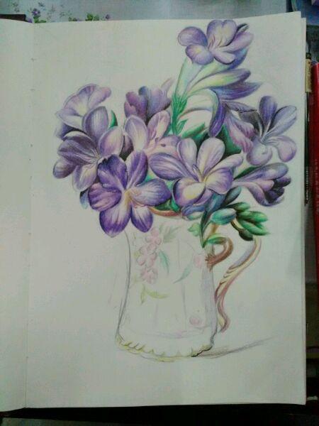 超写实油画花卉彩铅临摹高清图片