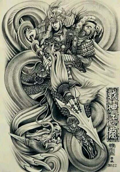 赵子龙满背纹身图案 纹身