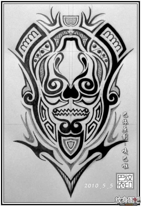 素花手环纹身手稿分享展示图片