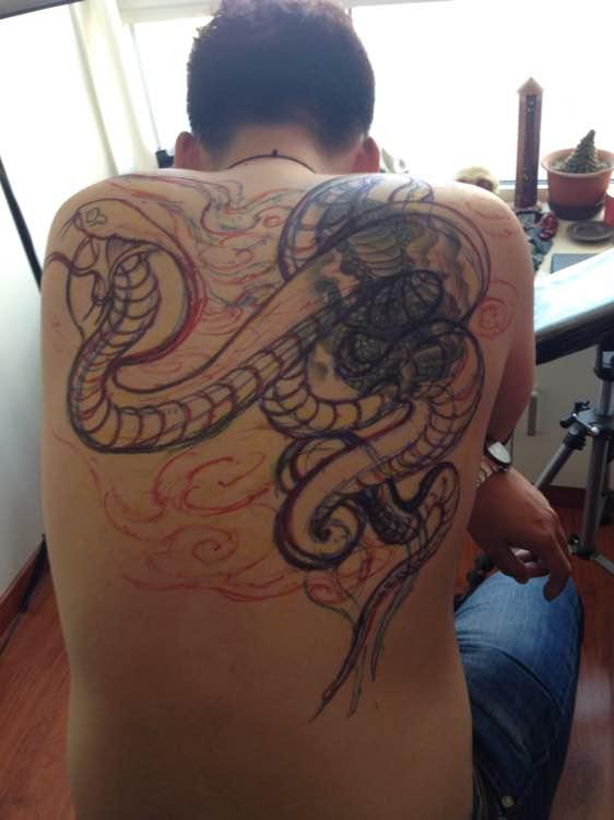 经典眼镜蛇玫瑰大花臂纹身图案图片图片