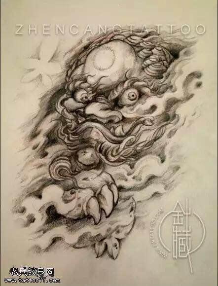 花腿纹身手稿平面图图片