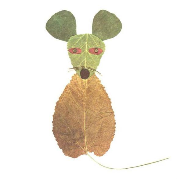 教孩子做树叶贴画图片