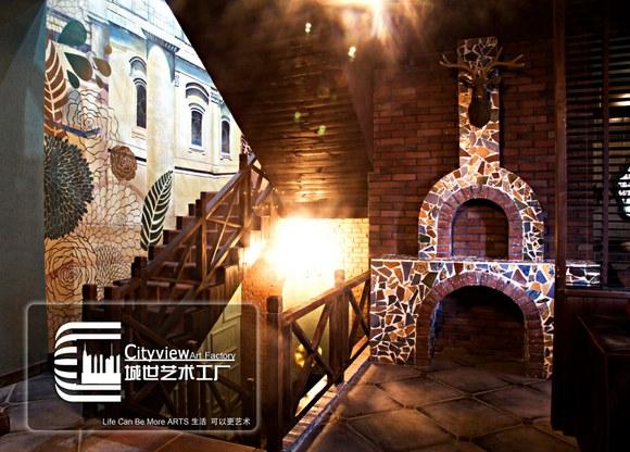 淄博城世艺术工厂墙绘作品(后海咖啡厅)图片