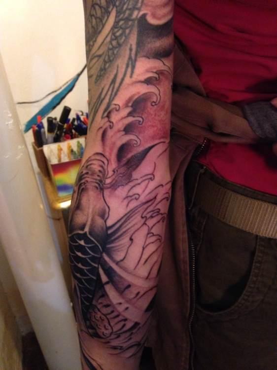 鱼化龙刺青; 覆盖纹身图片