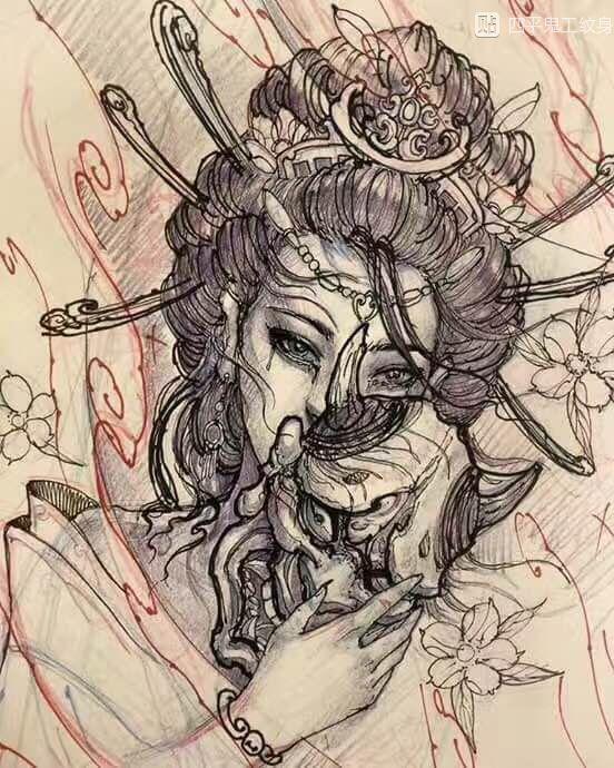 艺妓纹身手稿图片