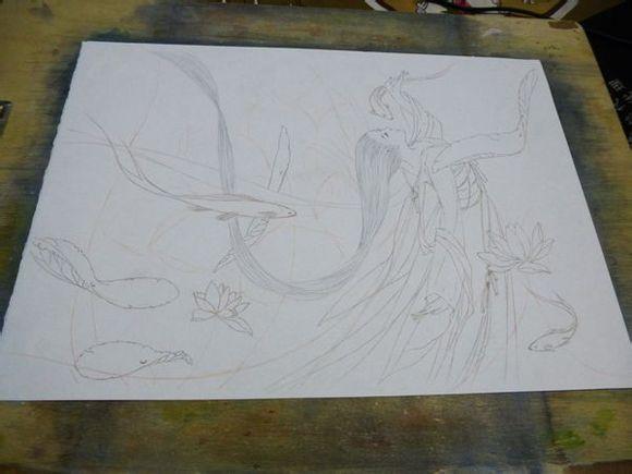 1. 用铅笔画线稿,预想一下画面,有一些部分后面会直接画出来