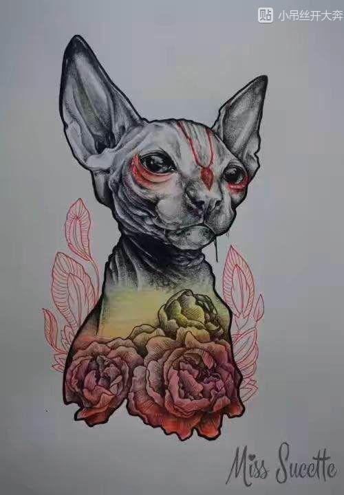 求猫脸面具纹身手稿图图片图片