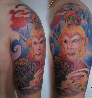 孙悟空腿上纹身分享展示图片