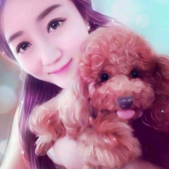 美女和泰迪狗的图片
