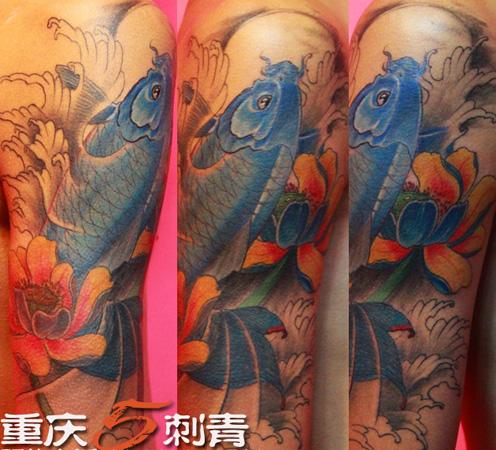 锦鲤鱼手稿纹身图案图片