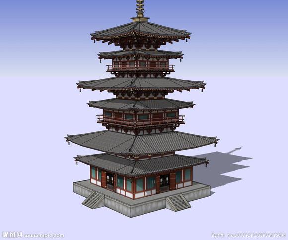 【每日一练】 中式塔楼建筑(副建筑过程图)图片