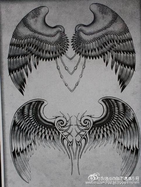翅膀胳膊纹身手稿分享展示图片