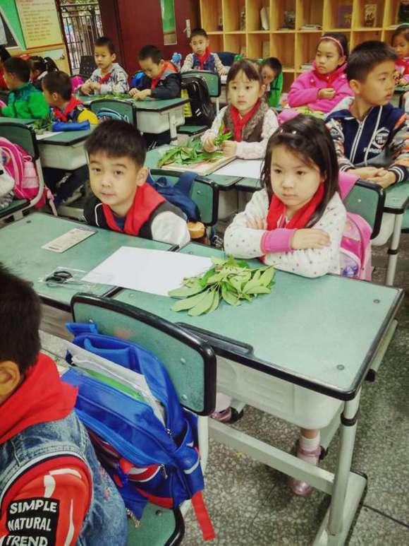 龙祥路小学一年级四班《树叶拼贴画》手工制作剪影图片