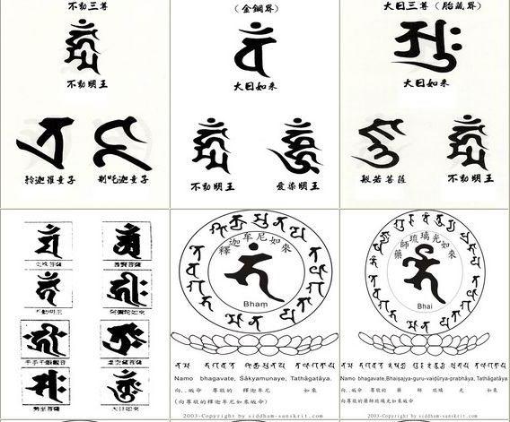 不动明王梵文纹身图案分享展示图片