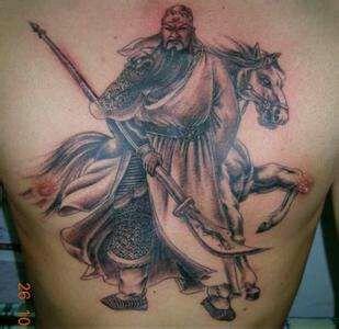 后背纹身关公囹�b_关公纹身图案后背分享展示