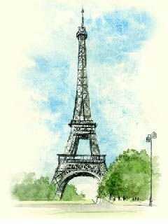 手绘版巴黎埃菲尔铁塔+手绘版巴黎埃菲尔铁塔图片