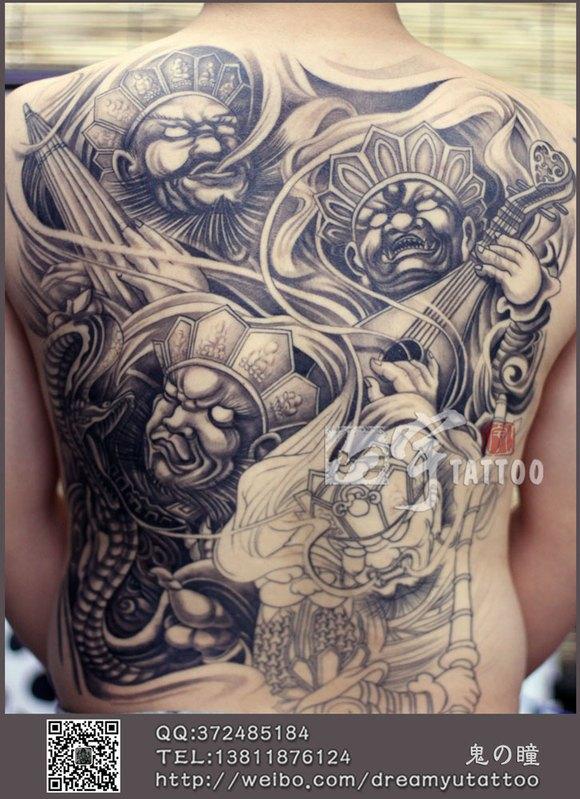 四大天王满臂纹身图案分享展示图片