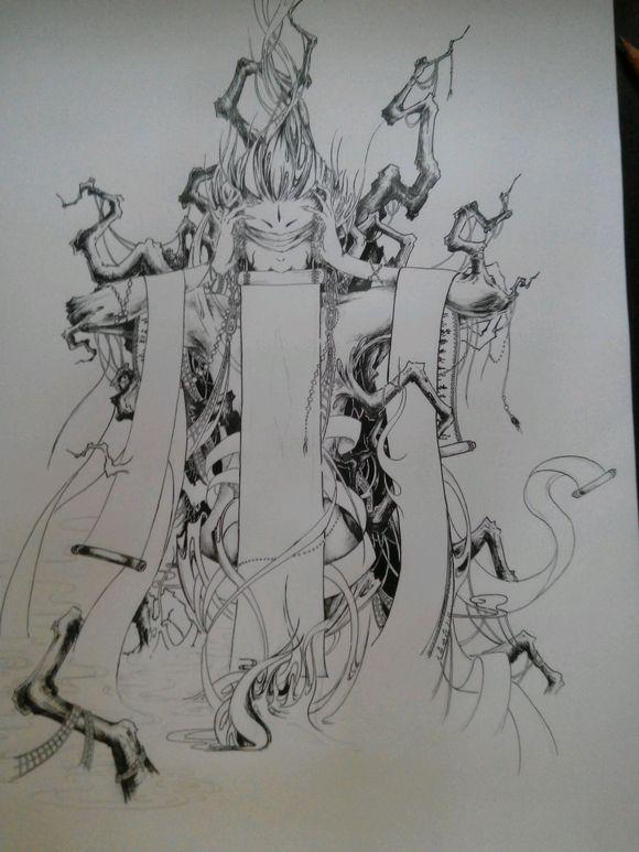 仿的黑白画意,发个我画的过程图片