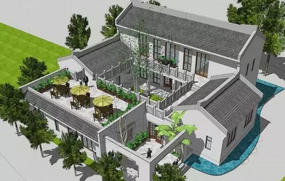 四合院设计施工图纸一层二层中式风格别墅图纸 免费效果图!图片