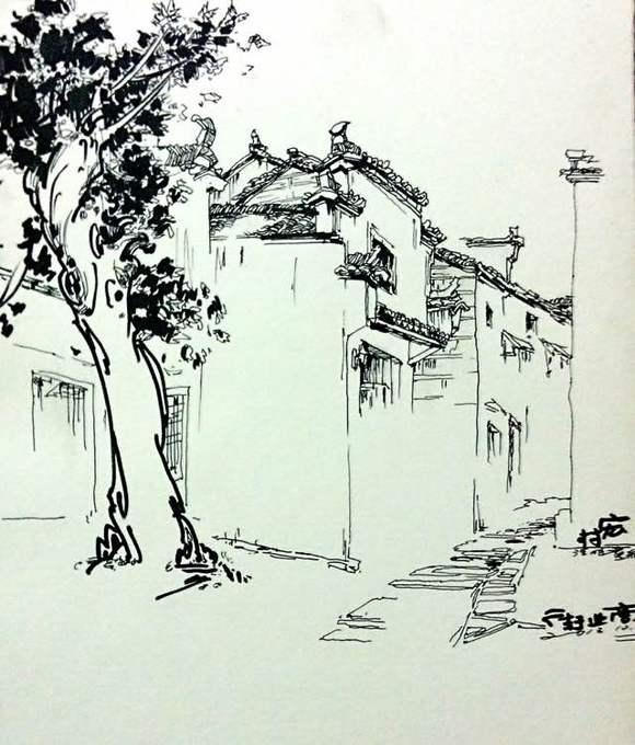 宏村 朱浩明 风景速写图片