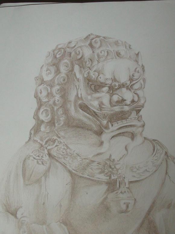 脖子上的石狮子纹身图案图片