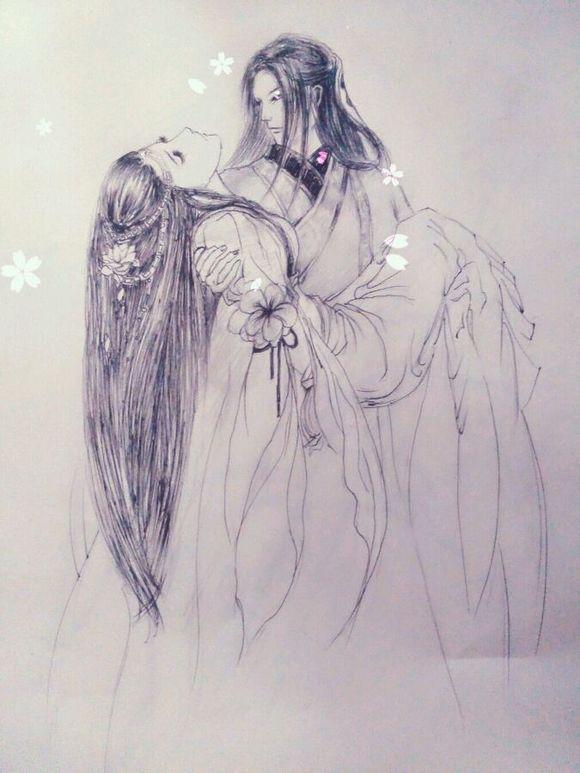谁有铅笔画的古装美女