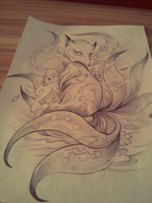 九尾狐半臂纹身手稿分享展示图片