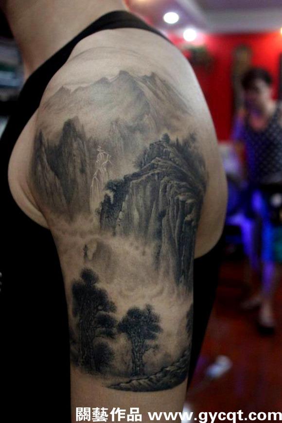 山水图纹身图片