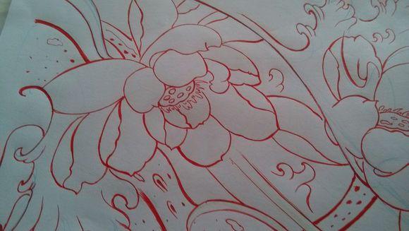 经典牡丹花纹身手稿分享展示图片