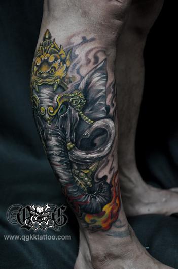 象神包小腿纹身图片展示图片